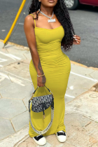 Yellow Casual Solid Split Joint Spaghetti Strap Pencil Skirt Dresses