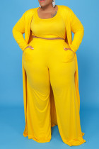 Yellow Casual Solid Split Joint U Neck Plus Size Two Pieces