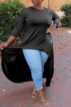 Black Fashion Casual Solid Asymmetrical O Neck Plus Size Tops