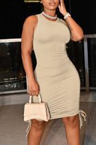 Khaki Casual Solid Split Joint Frenulum Fold O Neck Pencil Skirt Dresses