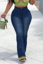 Deep Blue Casual Print Split Joint Plus Size Jeans