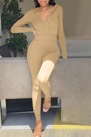 Khaki Casual Solid Split Joint Hooded Collar Skinny Jumpsuits