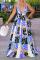 Purple Sexy Print Split Joint V Neck Cake Skirt Dresses