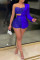 Royal Blue Fashion Sexy Patchwork Hollowed Out Beading Strapless Long Sleeve Two Pieces