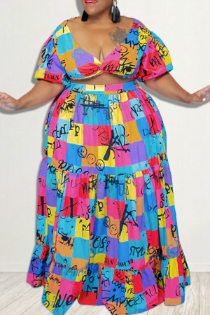 Rose Red Sexy Print Draw String V Neck Cake Skirt Plus Size Two Pieces