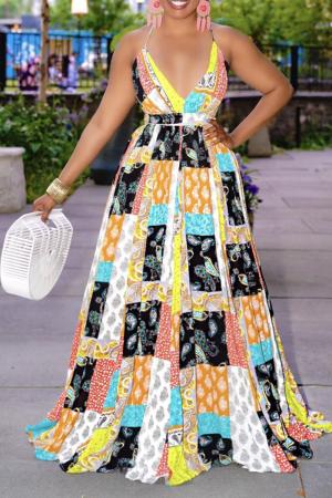 Yellow Sexy Print Split Joint V Neck Cake Skirt Dresses