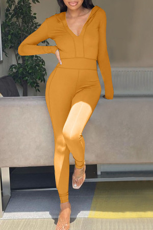 Ginger Casual Solid Split Joint Hooded Collar Skinny Jumpsuits