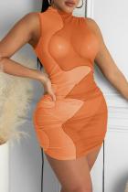 Orange Sexy Solid Split Joint Half A Turtleneck Pencil Skirt Dresses
