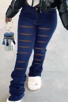 Deep Blue Street Solid Ripped Split Joint High Waist Boot Cut Denim Jeans