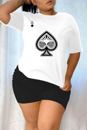 Black And White Fashion Casual Print Basic O Neck Plus Size Two Pieces
