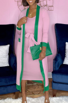 Pink Casual Solid Split Joint Outerwear