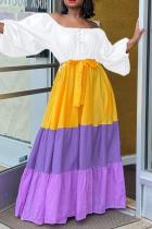 White Casual Print Split Joint Off the Shoulder Cake Skirt Dresses