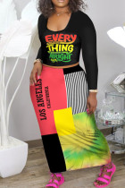 Red Yellow Casual Letter Print Split Joint U Neck Long Sleeve Two Pieces