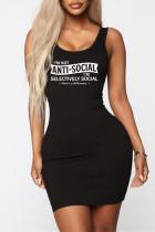 Black Fashion Casual Letter Print Basic U Neck Vest Dress