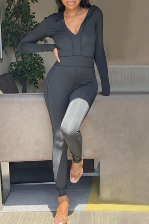 Black Casual Solid Split Joint Hooded Collar Skinny Jumpsuits