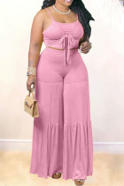Pink Sexy Solid Bandage Split Joint Frenulum With Bow Spaghetti Strap Plus Size Two Pieces