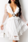 White Sexy Print Mesh V Neck Cake Skirt Dresses