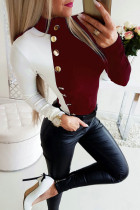 Red Fashion Matching Color High Collar Long Sleeve Top