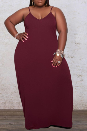 Red Casual Solid Split Joint Spaghetti Strap Straight Plus Size Dresses
