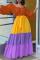 Brown Casual Print Split Joint Off the Shoulder Cake Skirt Dresses