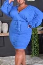 Blue Casual Solid Bandage Split Joint Fold V Neck Pencil Skirt Plus Size Dresses