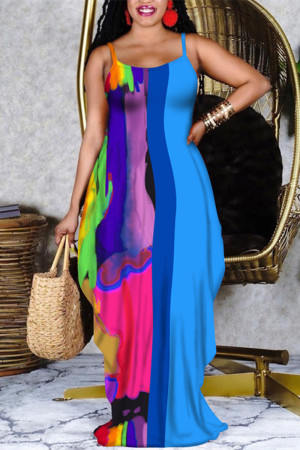 Blue Fashion Sexy Print Split Joint Spaghetti Strap Long Dress