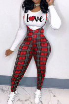 Black Red Casual Plaid Print Split Joint O Neck Long Sleeve Two Pieces