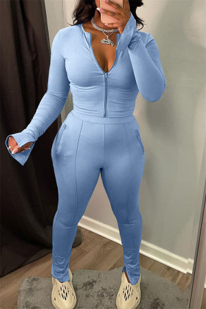 Light Blue Fashion Casual Solid Slit Zipper Collar Long Sleeve Two Pieces