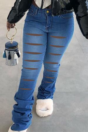 Medium Blue Street Solid Ripped Split Joint High Waist Boot Cut Denim Jeans