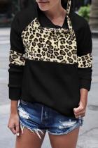 Black Casual Leopard Split Joint Asymmetrical Collar Tops