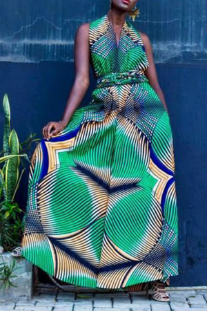 Green Casual Print Split Joint V Neck Loose Jumpsuits