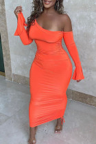 Tangerine Sexy Solid Split Joint Asymmetrical Oblique Collar Pencil Skirt Dresses