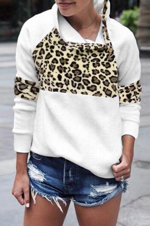 White Casual Leopard Split Joint Asymmetrical Collar Tops