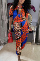 Tangerine Casual Print Split Joint O Neck Half Sleeve Two Pieces