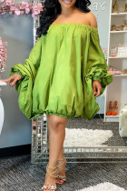 Green Fashion Sexy Solid Backless Off the Shoulder Long Sleeve Dresses