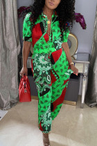 Green Casual Print Split Joint O Neck Half Sleeve Two Pieces
