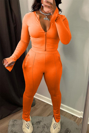Orange Fashion Casual Solid Slit Zipper Collar Long Sleeve Two Pieces