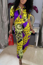 Yellow Casual Print Split Joint O Neck Half Sleeve Two Pieces