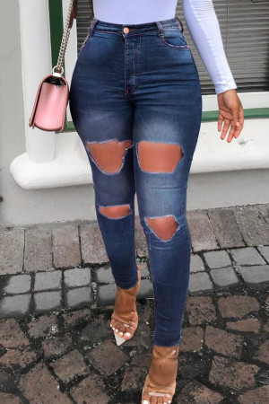 Deep Blue Fashion Casual Solid Ripped High Waist Skinny Jeans