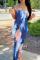 Colour Sexy Print Split Joint Strapless Pencil Skirt Dresses