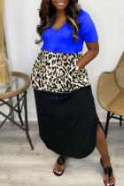 Blue Casual Print Split Joint Asymmetrical V Neck Short Sleeve Dress Dresses