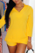 Yellow Casual Solid Split Joint Turndown Collar Three Quarter Two Pieces