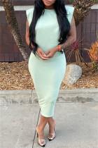 Light Green Fashion Casual Solid Basic O Neck Sleeveless Dress