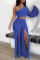 Blue Fashion Sexy Backless Slit Oblique Collar Long Sleeve Two Pieces