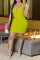 Yellow Sexy Solid Hollowed Out Spaghetti Strap Pencil Skirt Dresses