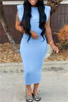 Light Blue Fashion Casual Solid Basic O Neck Sleeveless Dress