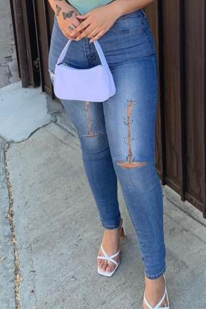 Medium Blue Fashion Casual Solid Ripped High Waist Regular Jeans