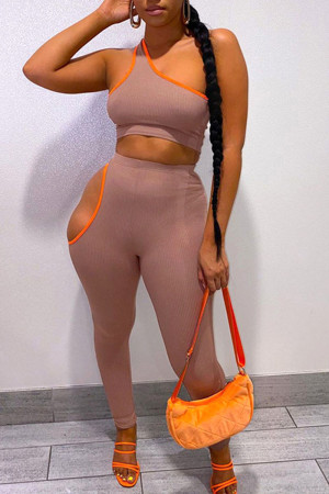 Pink Sexy Solid Hollowed Out Split Joint Oblique Collar Sleeveless Two Pieces