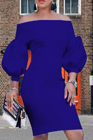 Deep Blue Sexy Solid Split Joint Off the Shoulder Pencil Skirt Dresses
