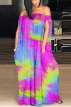 purple Fashion street Print Tie-dyed Sleeveless one word collar Jumpsuits